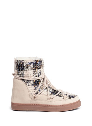 Main View - Click To Enlarge - INUIKII - Leather panel sequin tweed sneaker boots