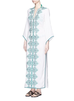 Figure View - Click To Enlarge - Talitha - 'Talitha' embroidery tassel lace-up maxi dress