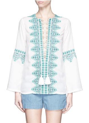Main View - Click To Enlarge - Talitha - 'Noor' embroidery lace-up tunic
