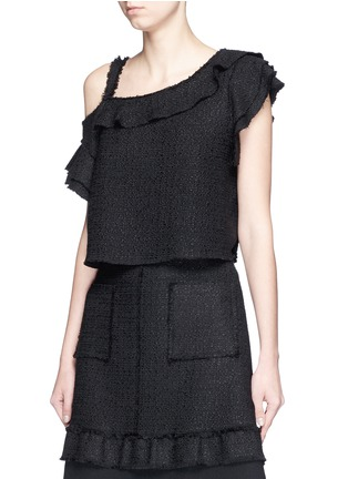 Front View - Click To Enlarge - Proenza Schouler - Ruffle one-shoulder tweed cropped top