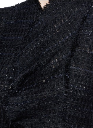 Detail View - Click To Enlarge - Proenza Schouler - Frayed tweed ruffle cropped top