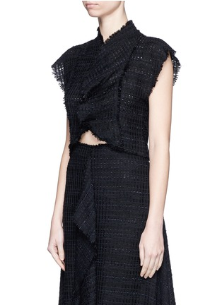 Front View - Click To Enlarge - Proenza Schouler - Frayed tweed ruffle cropped top