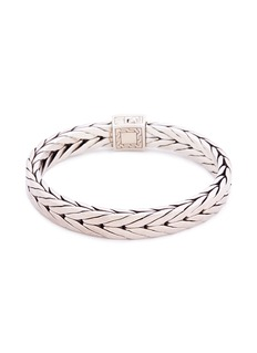 John Hardy Tiger's eye stone silver weave effect link chain bracelet