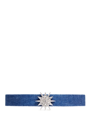 Main View - Click To Enlarge - KENNETH JAY LANE - Glass crystal star charm denim choker
