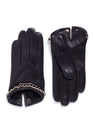 Main View - Click To Enlarge - MAISON FABRE - 'Sasha Chaine' chain lambskin leather short gloves