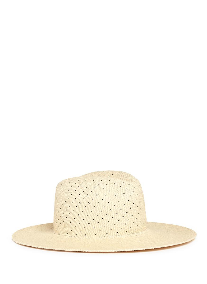 87a455db522d4 Janessa Leone  Cinq  Panama Straw Fedora Hat In Brown