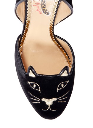 Detail View - Click To Enlarge - CHARLOTTE OLYMPIA - 'Kitty' velvet slingback pumps