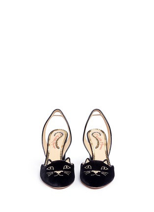 Front View - Click To Enlarge - CHARLOTTE OLYMPIA - 'Kitty' velvet slingback pumps