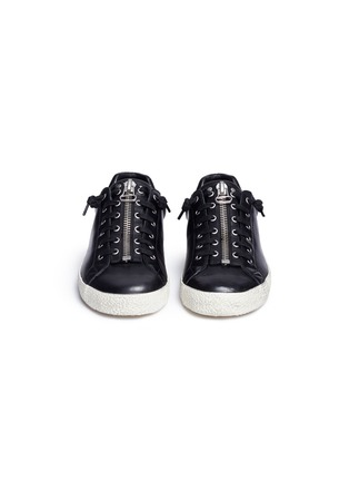 Front View - Click To Enlarge - Ash - 'Nirvana' cutout star patch leather zip sneakers
