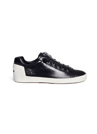 Main View - Click To Enlarge - Ash - 'Nirvana' cutout star patch leather zip sneakers
