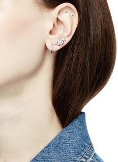 Maria Tash 'Princess' diamond 18k rose gold single 9.5mm hoop earring