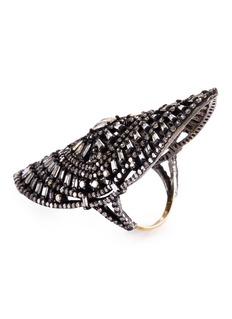 Aishwarya Diamond gold alloy openwork teardrop full finger ring