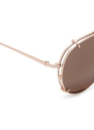 Detail View - Click To Enlarge - Linda Farrow - 'Ayala' detachable clip-on titanium aviator sunglasses
