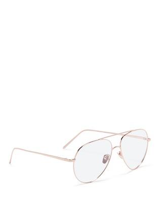 Figure View - Click To Enlarge - Linda Farrow - 'Ayala' detachable clip-on titanium aviator sunglasses