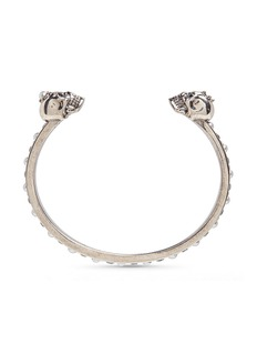 Alexander McQueen Crystal and faux pearl embellished twin skull cuff