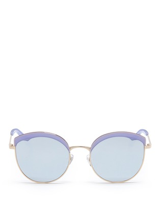 Main View - Click To Enlarge - Stephane + Christian - 'Cotton Candy' round cat eye mirror sunglasses