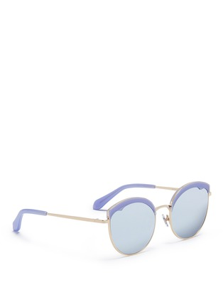 Figure View - Click To Enlarge - Stephane + Christian - 'Cotton Candy' round cat eye mirror sunglasses