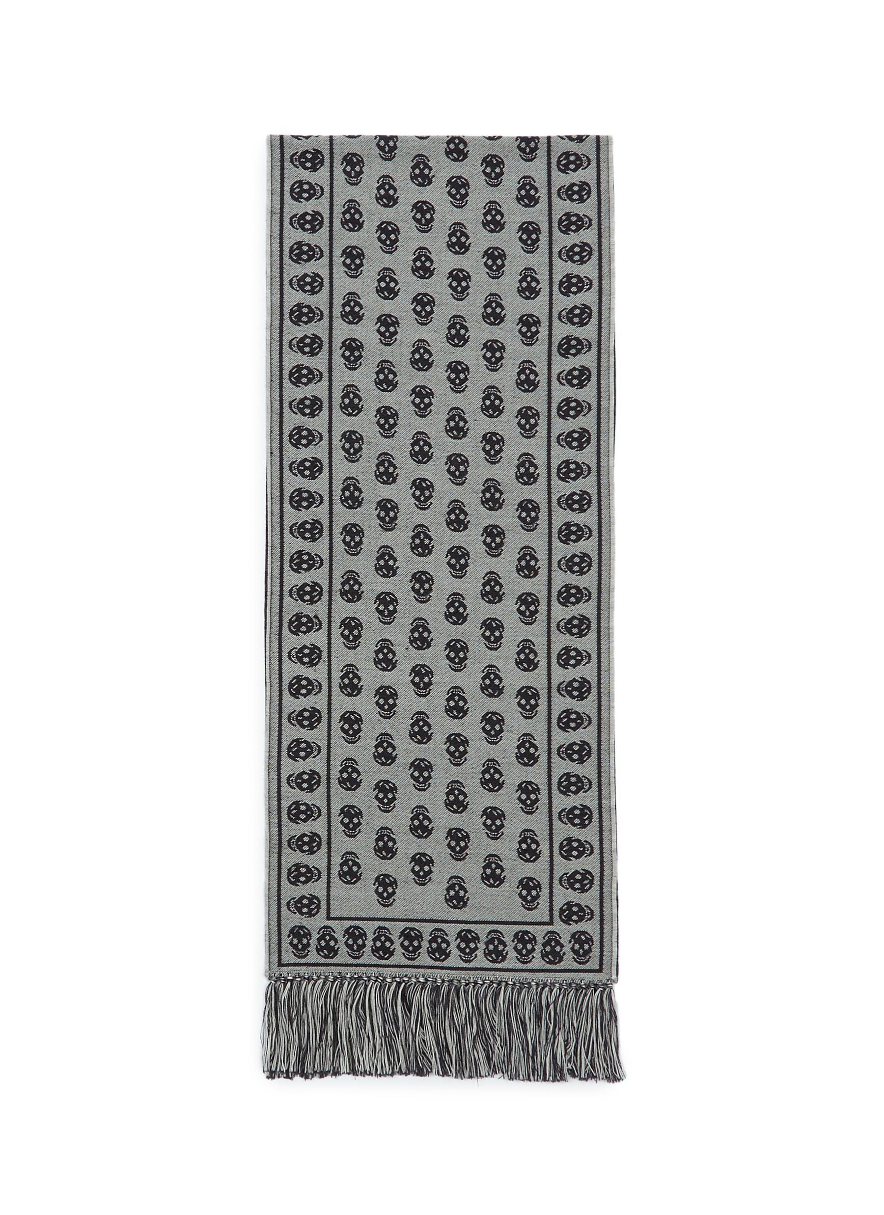 Alexander Mcqueen Skull Jacquard Wool Knit Scarf Men Lane Crawford
