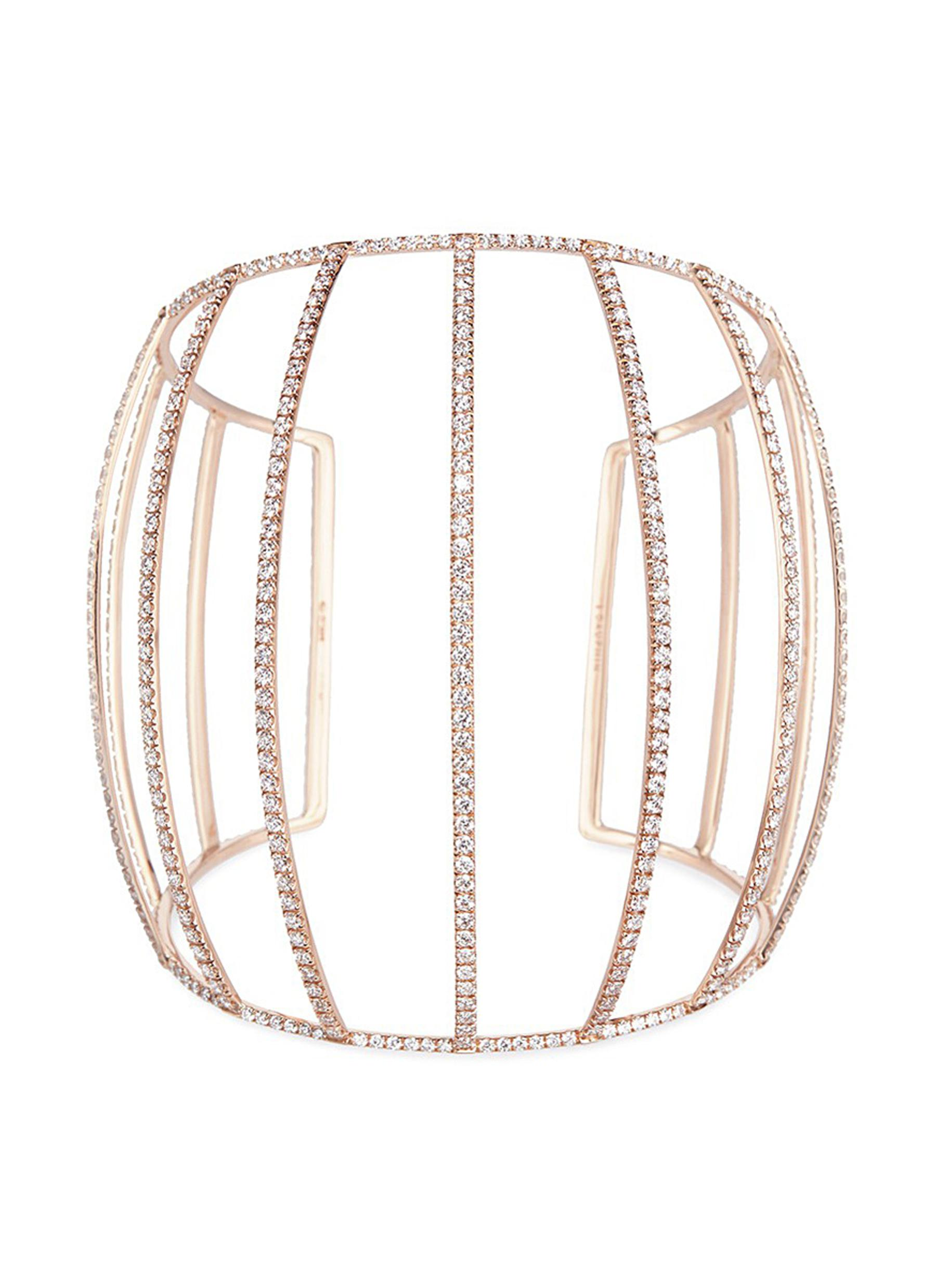 White diamond 18k rose gold caged cuff