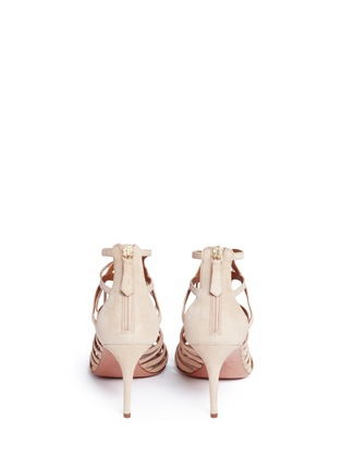 Back View - Click To Enlarge - Aquazzura - 'Ivy 75' caged suede sandals