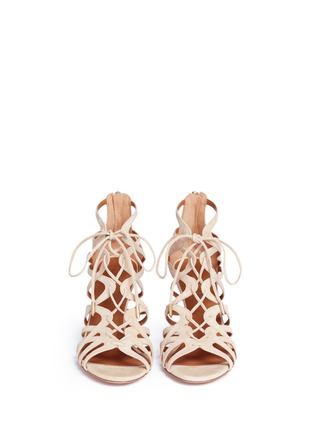 Front View - Click To Enlarge - Aquazzura - 'Ivy 75' caged suede sandals