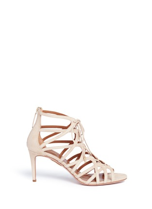 Main View - Click To Enlarge - Aquazzura - 'Ivy 75' caged suede sandals