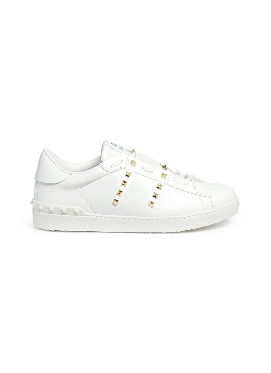 Rockstud Untitled 11 leather sneakers by Valentino