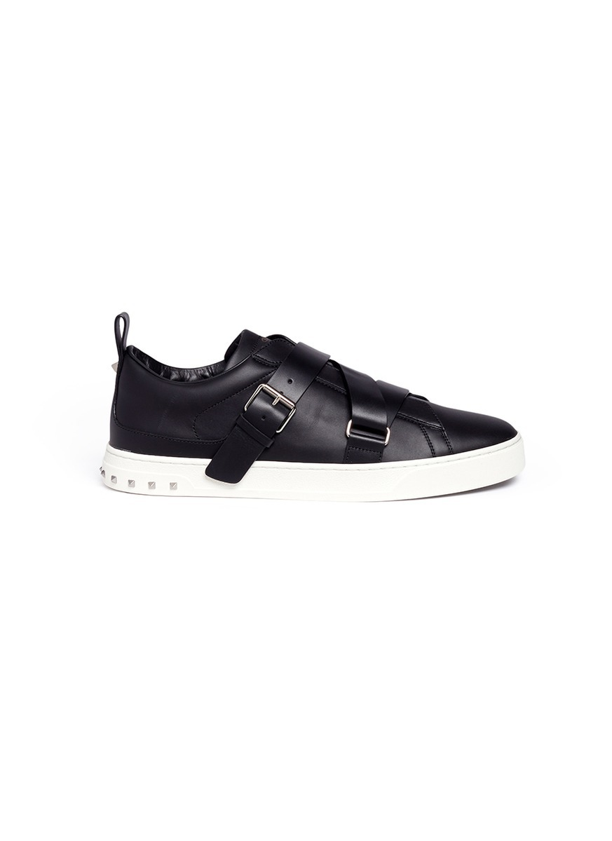 V-Punk crisscross strap leather sneakers by Valentino