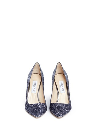 Front View - Click To Enlarge - Jimmy Choo - 'Romy 100' dégradé coarse glitter pumps