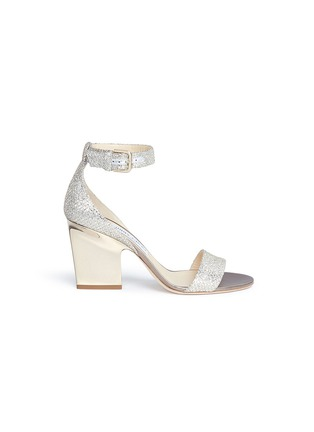 Main View - Click To Enlarge - Jimmy Choo - 'Edina 85' sculpted heel glitter sandals