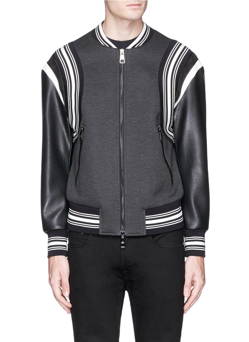NEIL BARRETT Wool Varsity Bomber Jacket W/ Faux-Leather Sleeves, Black Multi