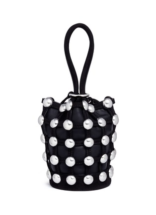 Detail View - Click To Enlarge - Alexander Wang  - 'Roxy' round stud mini caged leather bucket bag