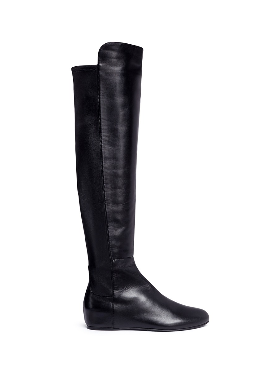 All Day concealed wedge leather thigh high boots by Stuart Weitzman