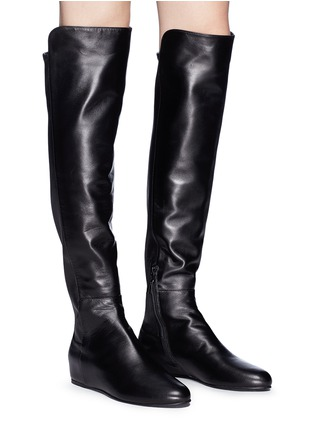 Figure View - Click To Enlarge - Stuart Weitzman - 'All Day' concealed wedge leather thigh high boots