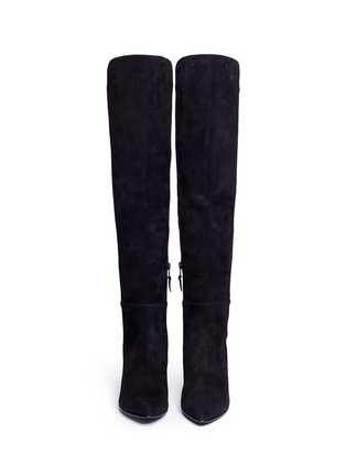 Front View - Click To Enlarge - Stuart Weitzman - 'Allways' stretch suede knee high boots