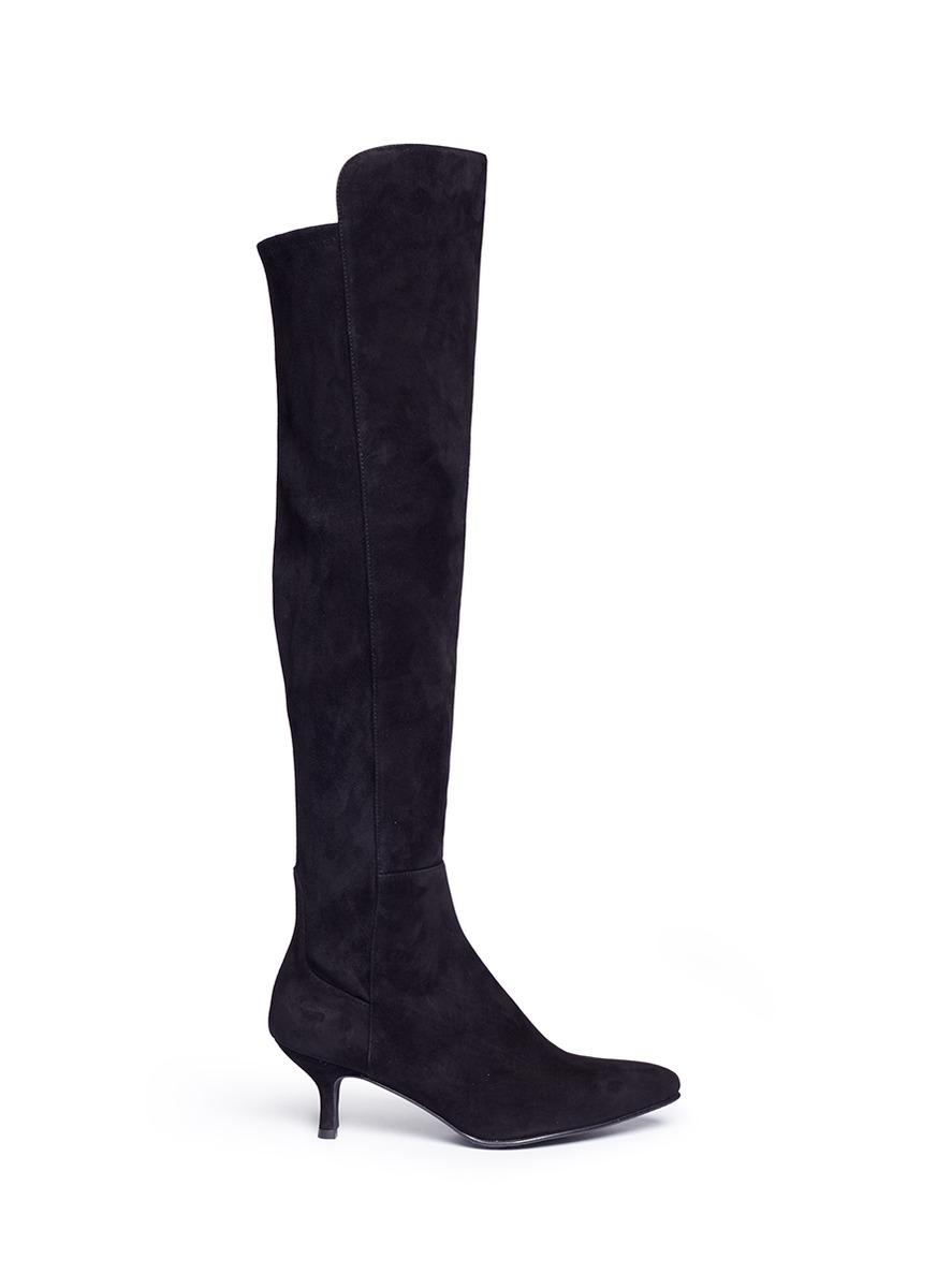 Allways stretch suede knee high boots by Stuart Weitzman