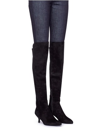 Figure View - Click To Enlarge - Stuart Weitzman - 'Allways' stretch suede knee high boots