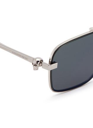 Detail View - Click To Enlarge - ALEXANDER MCQUEEN - Skull stud metal aviator sunglasses