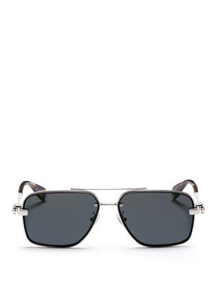 Main View - Click To Enlarge - ALEXANDER MCQUEEN - Skull stud metal aviator sunglasses