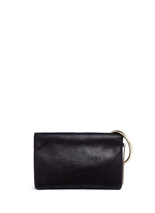 Detail View - Click To Enlarge - JIMMY CHOO - 'Charley' metal ring metallic leather clutch