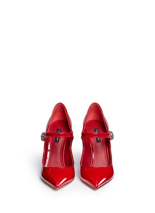 Front View - Click To Enlarge - Dolce & Gabbana - Logo button patent leather Mary Jane pumps