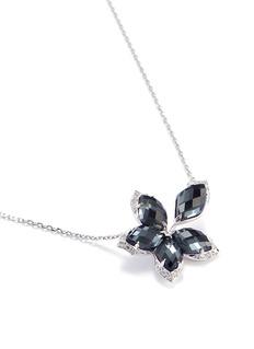 Stephen Webster Crystal haze diamond 18k white gold floral pendant necklace