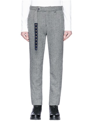 Main View - Click To Enlarge - SACAI - Belted wool blend herringbone pants