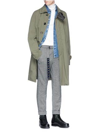 Figure View - Click To Enlarge - SACAI - Belted wool blend herringbone pants