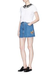 Valentino Beaded butterfly patch denim skirt