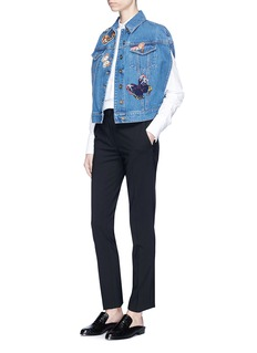 Valentino Beaded butterfly patch denim cape