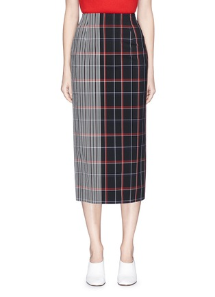Main View - Click To Enlarge - VICTORIA BECKHAM - Stripe check plaid pencil skirt