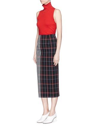 Figure View - Click To Enlarge - VICTORIA BECKHAM - Stripe check plaid pencil skirt