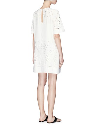 Back View - Click To Enlarge - THEORY - 'Idetteah' eyelet embroidered crepe shift dress
