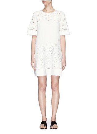 Main View - Click To Enlarge - THEORY - 'Idetteah' eyelet embroidered crepe shift dress